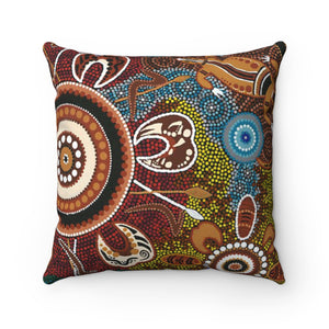 Aboriginal Art Design Print Spun Polyester Square Pillow