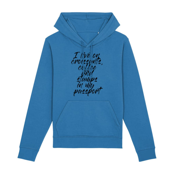 Croissants Coffee and Stamps Hoodie - Royal Blue / X-Small -