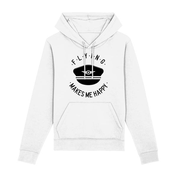 Flying Makes Me Happy Hoodie - White / XX-Small - Clothing