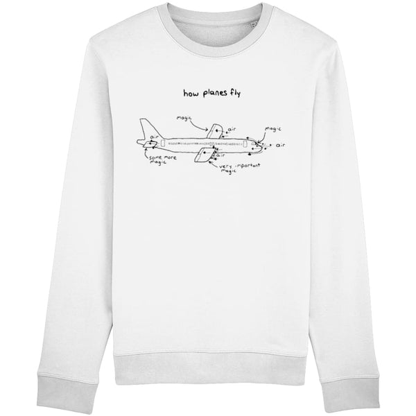 How Planes Fly Sweatshirt - White / X-Small - Clothing