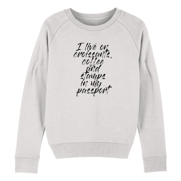 Croissants Coffee and Stamps Women's Sweatshirt - Cream