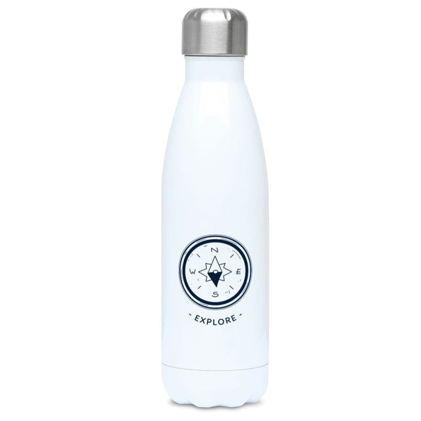Explore 500ml Water Bottle - Stainless Steel / White -