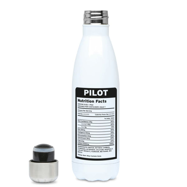 Pilot Nutritional Information 500ml Water Bottle - Stainless