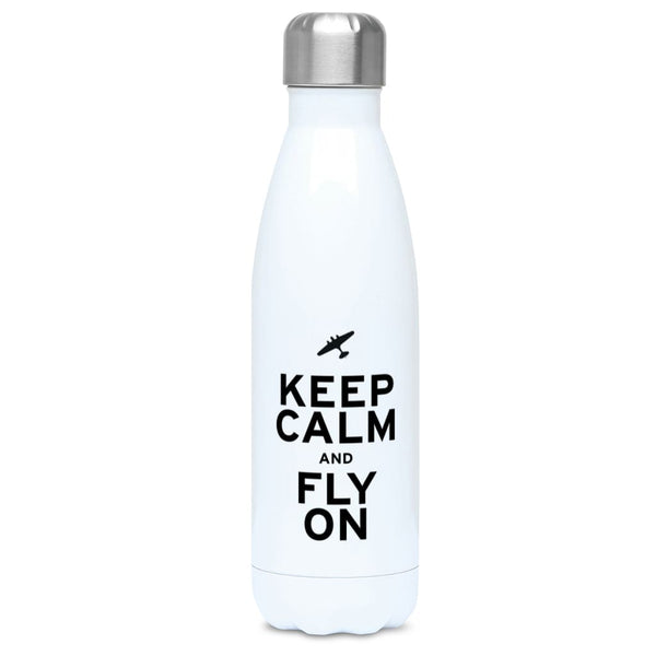Aero Threads Accessories & Homeware Stainless Steel / White Keep Calm and Fly On 500ml Water Bottle