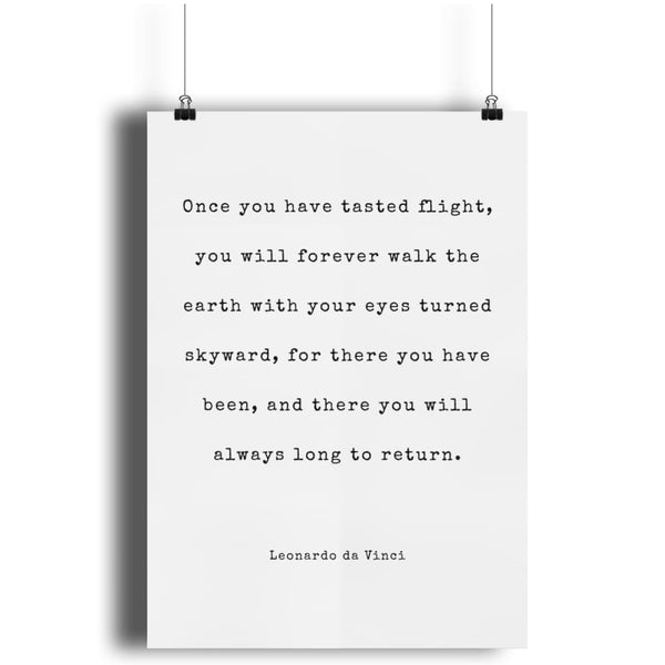 Aero Threads Wall Art White Once You Have Tasted Flight A4 Print