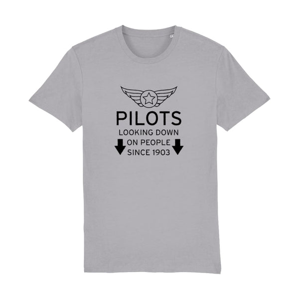 Aero Threads Suggested Products Mid Heather Grey / XX-Small Pilot Looking Down On People Since 1903 T-Shirt
