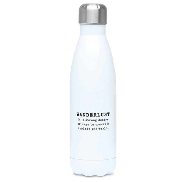 Aero Threads Accessories & Homeware Stainless Steel / White Wanderlust 500ml Water Bottle
