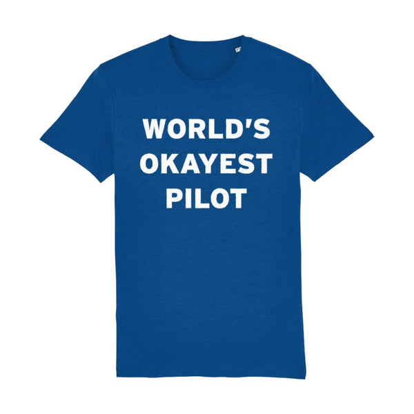 Aero Threads Suggested Products Marjorelle Blue / X-Small World's Okayest Pilot Men's T-Shirt