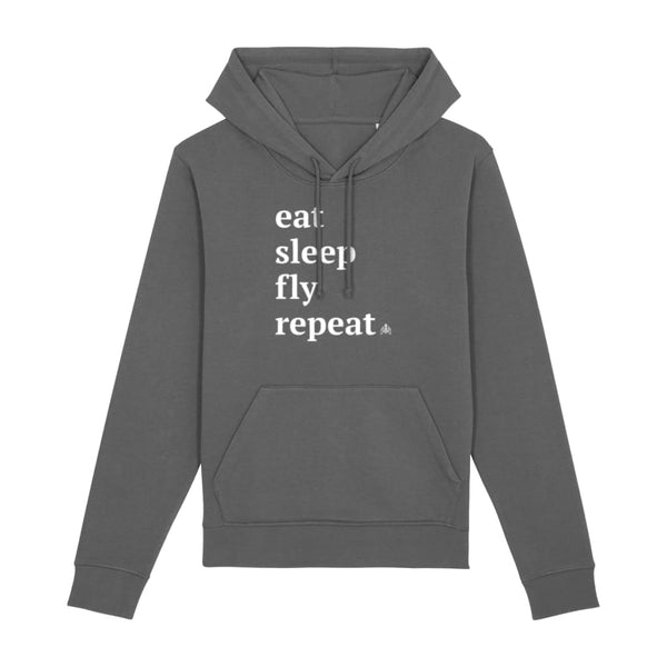 AeroThreads Clothing Anthracite / X-Small Eat Sleep Fly Repeat Unisex Hoodie