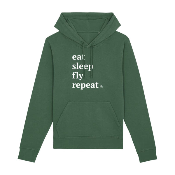 AeroThreads Clothing Bottle Green / X-Small Eat Sleep Fly Repeat Unisex Hoodie