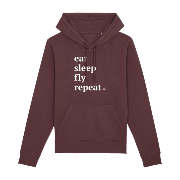 AeroThreads Clothing Burgundy / XX-Small Eat Sleep Fly Repeat Unisex Hoodie