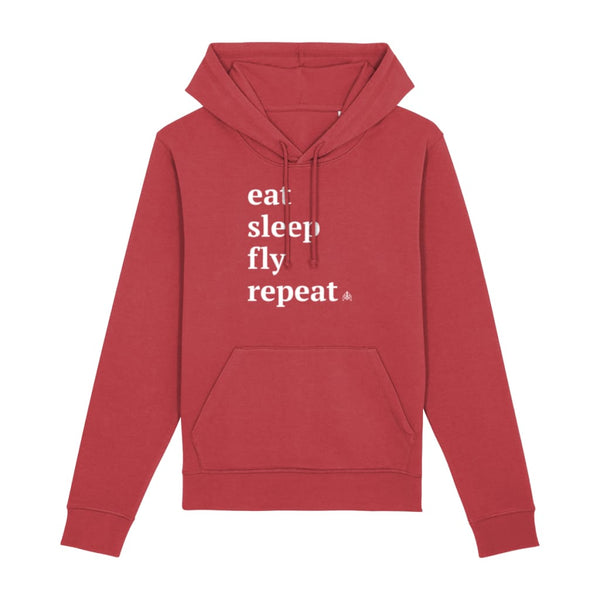 AeroThreads Clothing Red / X-Small Eat Sleep Fly Repeat Unisex Hoodie