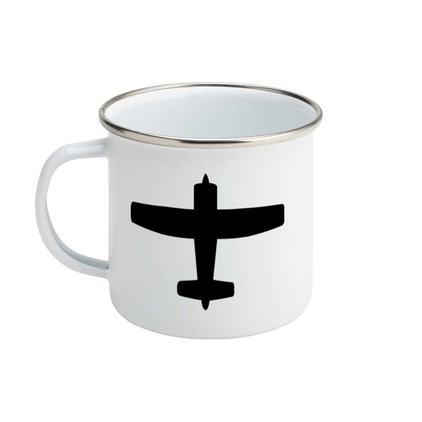 AeroThreads Suggested Products Enamel / White Propeller Plane Silhouette Enamel Mug