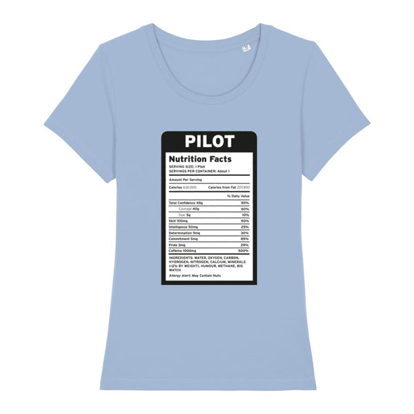 Pilot Nutritional Information Women's T-Shirt - Sky Blue /