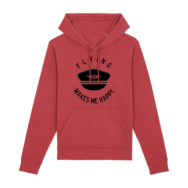 Flying Makes Me Happy Hoodie - Red / X-Small - Clothing