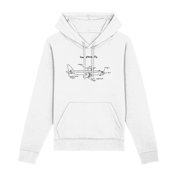 How Planes Fly Hoodie - White / XX-Small - Clothing