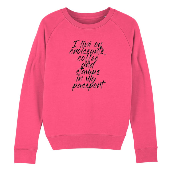 Croissants Coffee and Stamps Women's Sweatshirt - Pink Punch