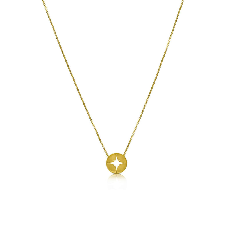Ór Collection 9ct Yellow Gold Compass Necklace