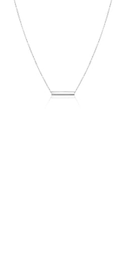 Ór Collection 9Ct White Gold Solid Bar Necklace