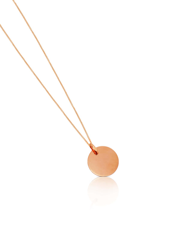 Ór Collection 9ct Rose Gold Round Disc With Chain - Ór Jewellers
