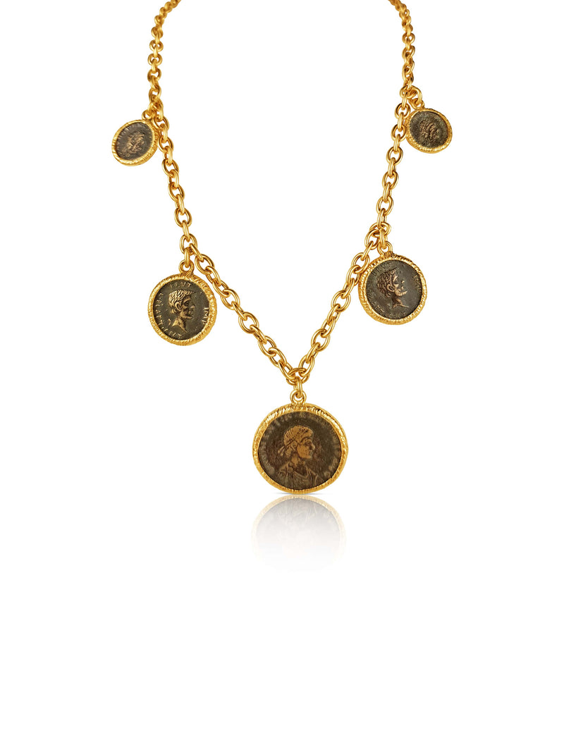 sterling silver gold plated ancient Roman Coin Necklace - Or Jewellers
