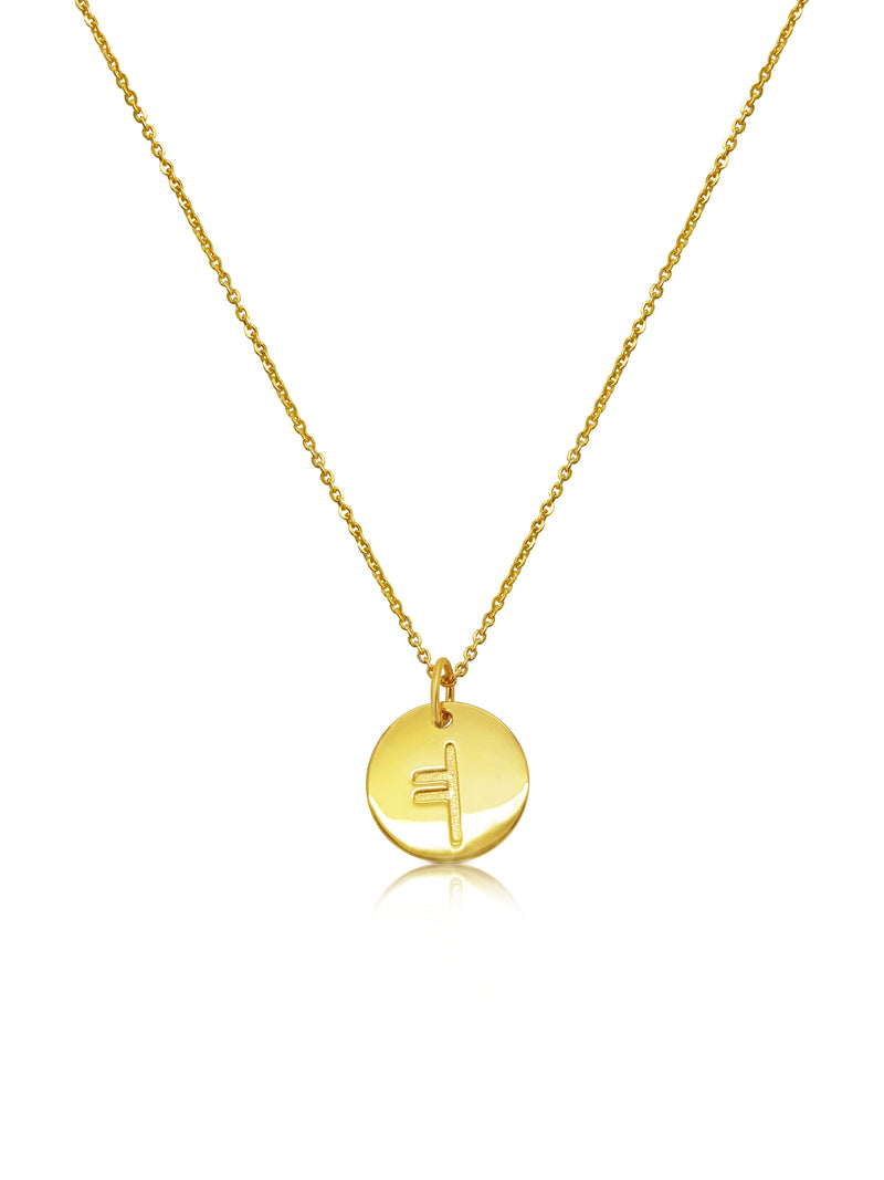 gold ogham necklace letter D