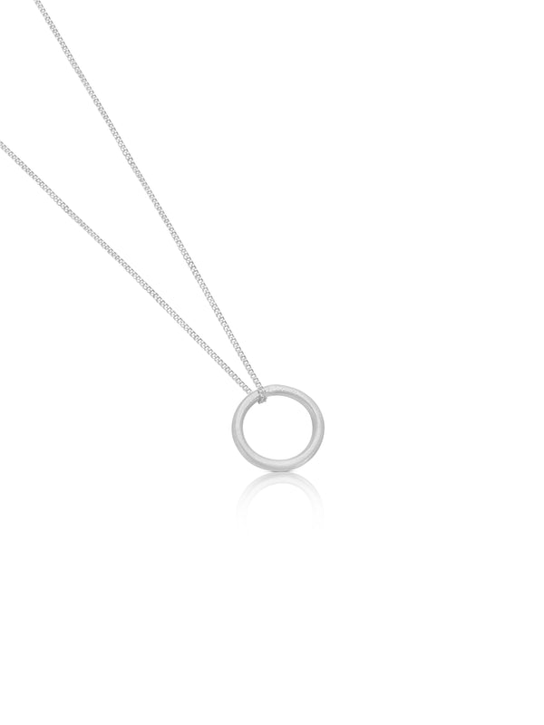 Susi Cala Sterling Silver Necklace With Open Circle Pendant.