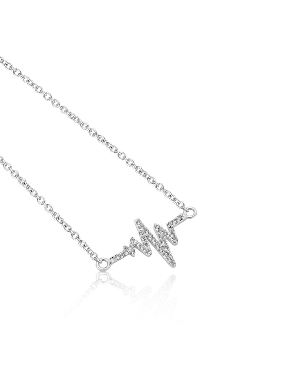 Sterling Silver Heartbeat Necklace With Cubic Zirconia Gemstones