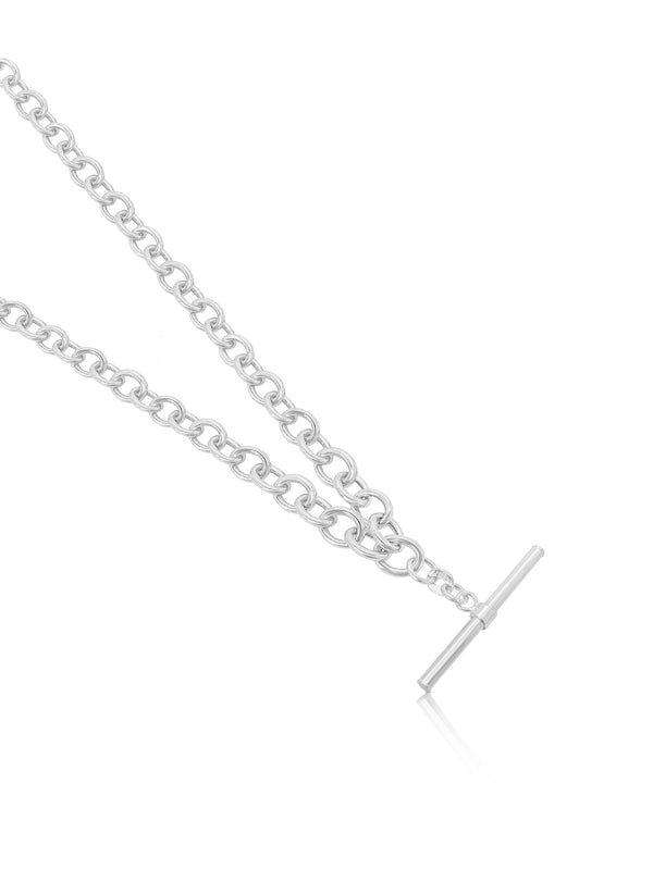 Ór Collection Sterling Silver T-Bar Chain Necklace