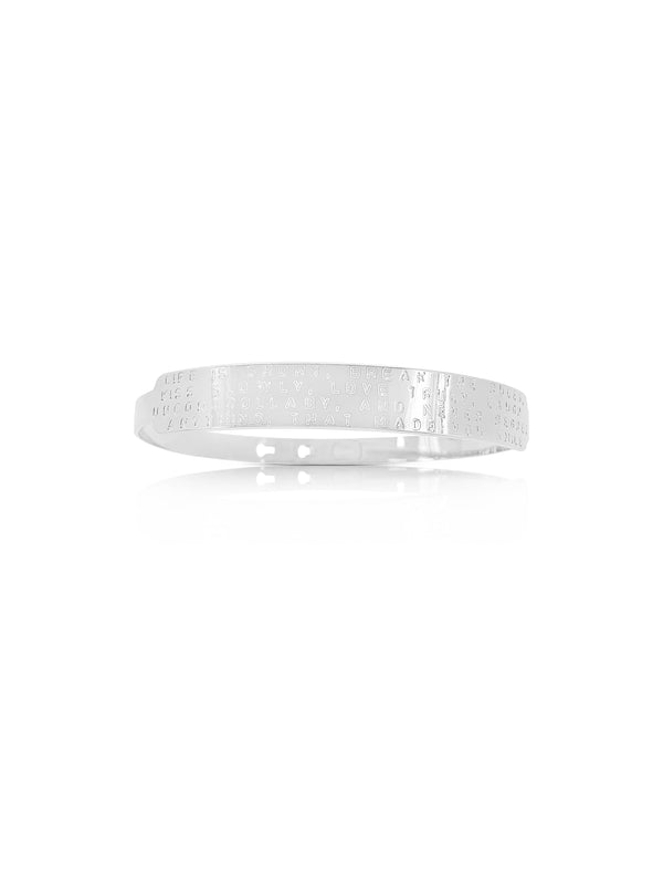 Sterling Silver Plated Brass Engraved Bracelet
