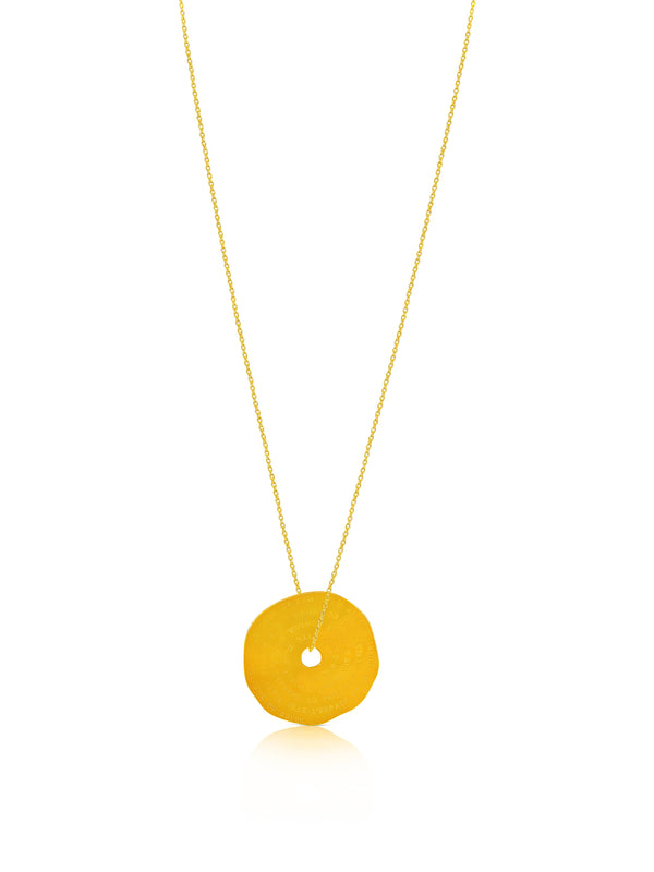 Gold Plated Brass Engraved Circle Necklace