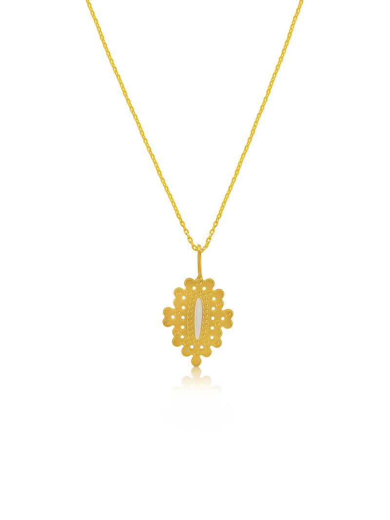 Gold Plated Brass Ivory Design Necklace