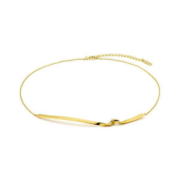 Sterling Silver Gold Plated Twister Bar Necklace