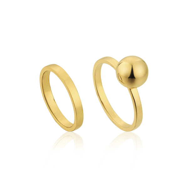 Sterling Silver Gold Plated Double Ring Set With Gold Ball