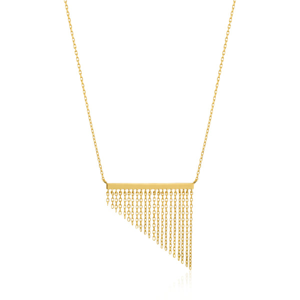 Sterling Silver Gold Plated Necklace With Tassel Centre