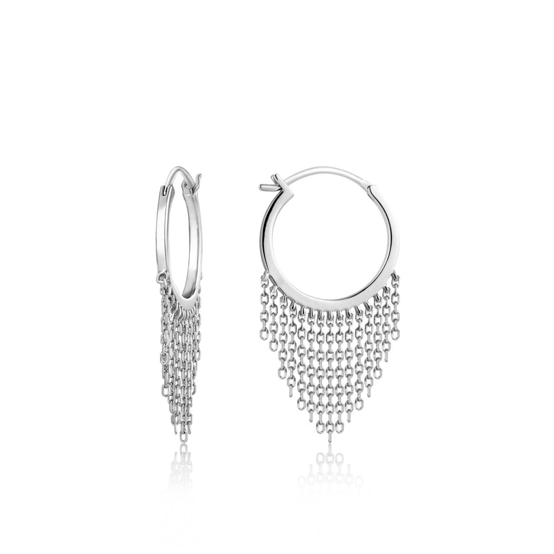 Sterling Silver Hoop Earring With Tassel Finish