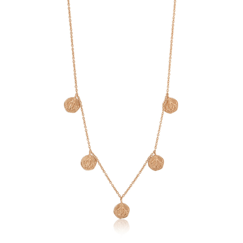 Sterling Silver Rose Gold Plated 5 Coin Short Necklace
