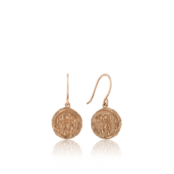 Sterling Silver Rose Gold Plated Emblem Hook Coin Earring