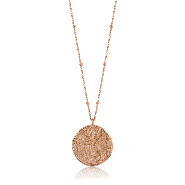 Sterling Silver Rose Gold Plated Greek Warrior Long Necklace