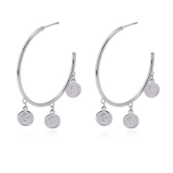 Hoop Earring With Three Old Coins - Silver