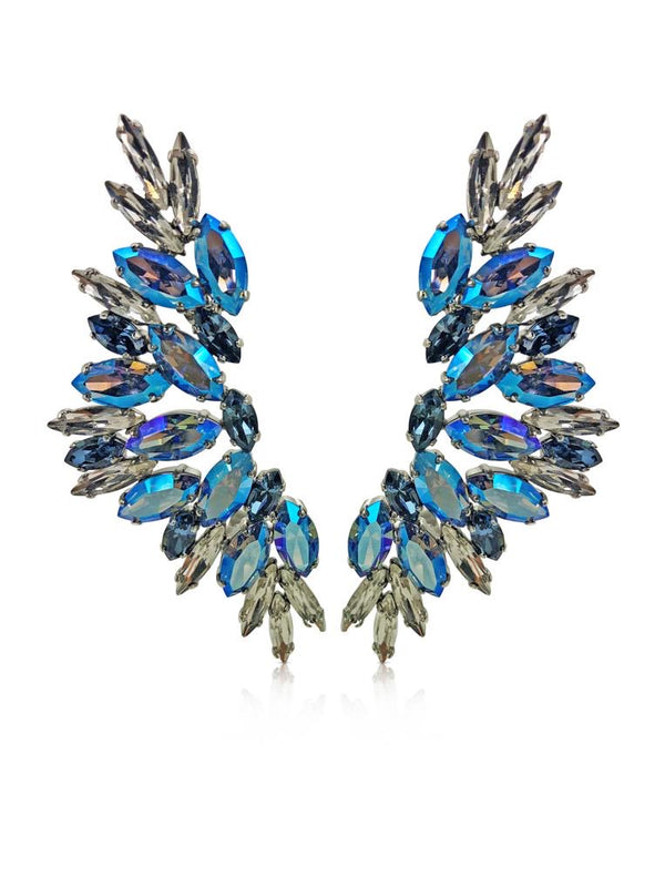 Destellos Statement Silver Stainless Steel Ear Cuffs with Blue and Clear Crystals