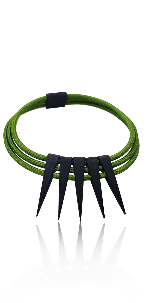 Pig 'Oh Green Cable Wire Necklace with Black Wooden Spikes