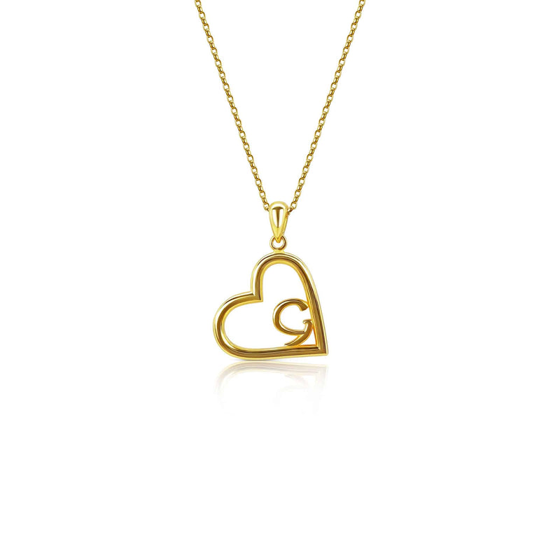 18ct Gold Plated Heart With Ancient Gaelic Script Necklace