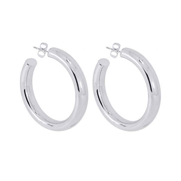 Stainless Steel Thick Hoop Earrings 40mm