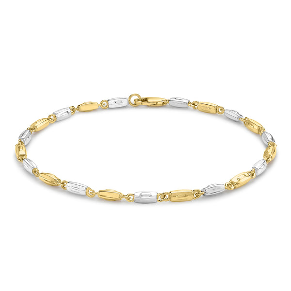 Ór Collection 9Ct 2-Colour Gold Rectangle Link Bracelet