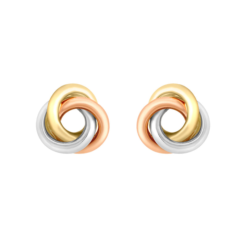 Ór Collection 9Ct 3-Colour Gold 8Mm Knot Stud Earrings