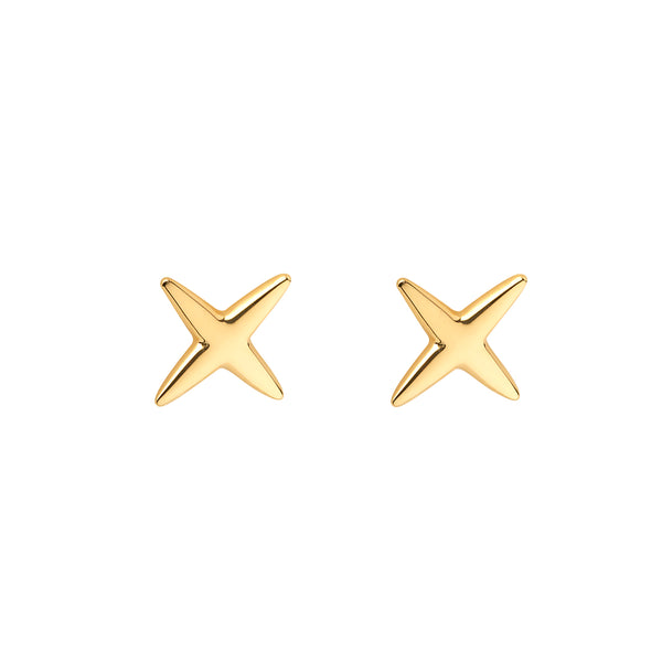 Ór Collection 9Ct Gold 'kiss' (X) Stud Earrings