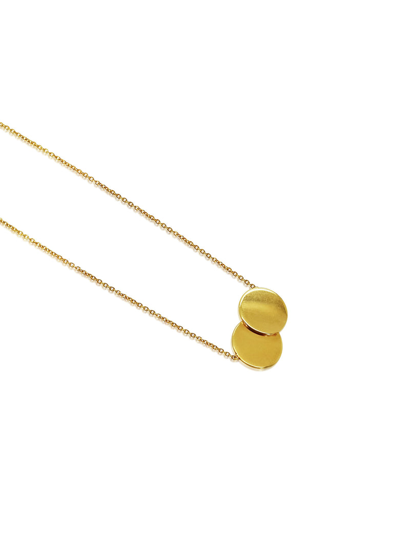 Ór Collection 9ct Gold Small Double Disc Necklace