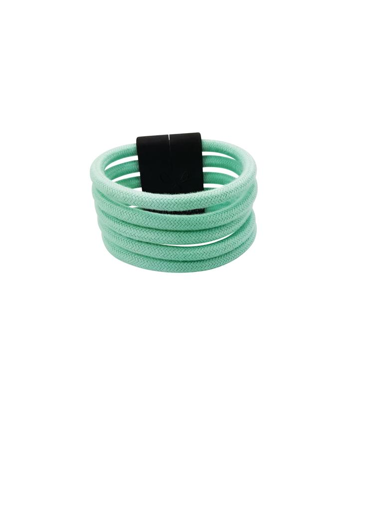 Pig 'Oh Mint Green 5 Strand Cable Wire Cuff with Magnetic Wooden Clasp