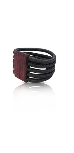 Pig 'Oh Grey 5 Strand Cable Wire Cuff with Magnetic Wooden Clasp